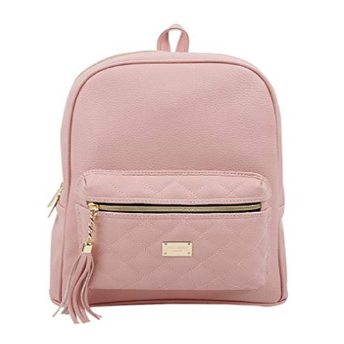 Copi Women's Simple Design Modern Cute Fashion small Casual Backpacks Pink