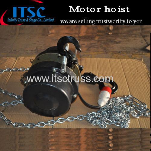 Motor hoist for aluminum truss roof