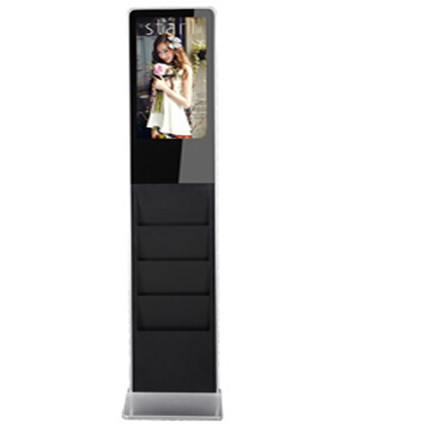 22 inch floor standing slim lcd digital signage with brochures holder