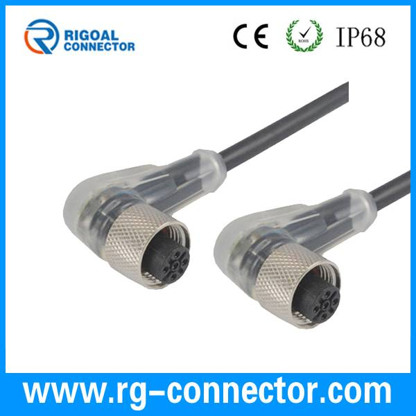 LED lighting outdoor waterproof electric m12 molded connector cable