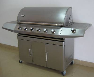 stainless steel bbq gas grill with 6 burners