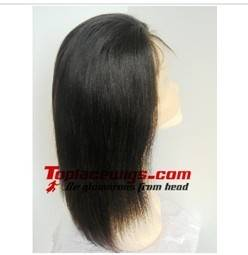 Stock 14 inch Yaki Straight Indian Remy Hair Full Lace Wigs with baby hair