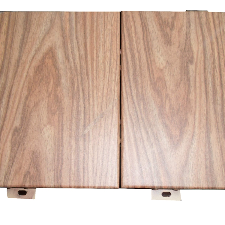 wooden pattern aluminum curtain wall paneling design with light color