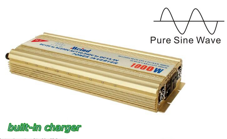 Pure Sine Wave Built-In Charger DC to AC Continuous 1000W Peak 2000 Watt Power Inverter