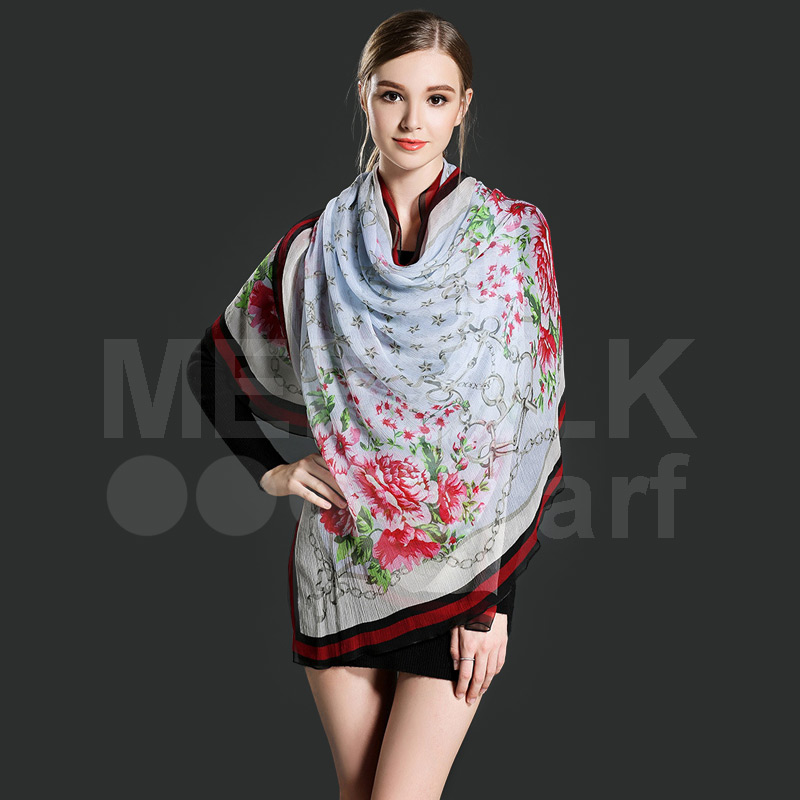 Wholesale Flower Printing Fashion Long Scarf/ 100% Fashion Silk Scarves