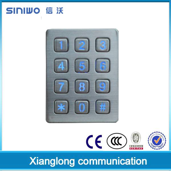 3x4 matrix stainless steel metal backlit & illuminated access control keypad