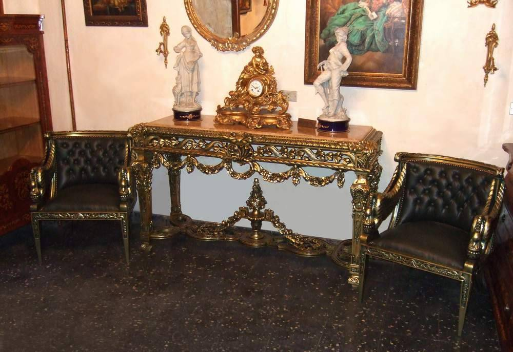 French Style Highly Carved Green Gilded & Patinated Console Set