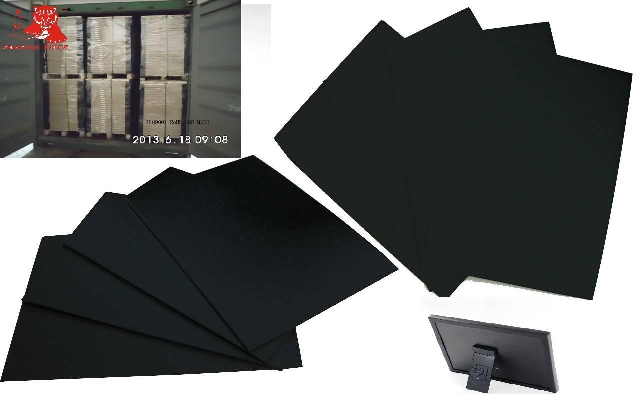 Stiff China black cardboard paper/0.5mm black paperboard/1mm 1.5mm 2mm 2.5mm 3mm paper board mill/pl