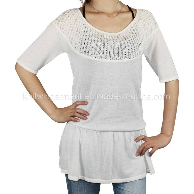Fashion women Knitted short Sleeve Sweater in thin handfeel