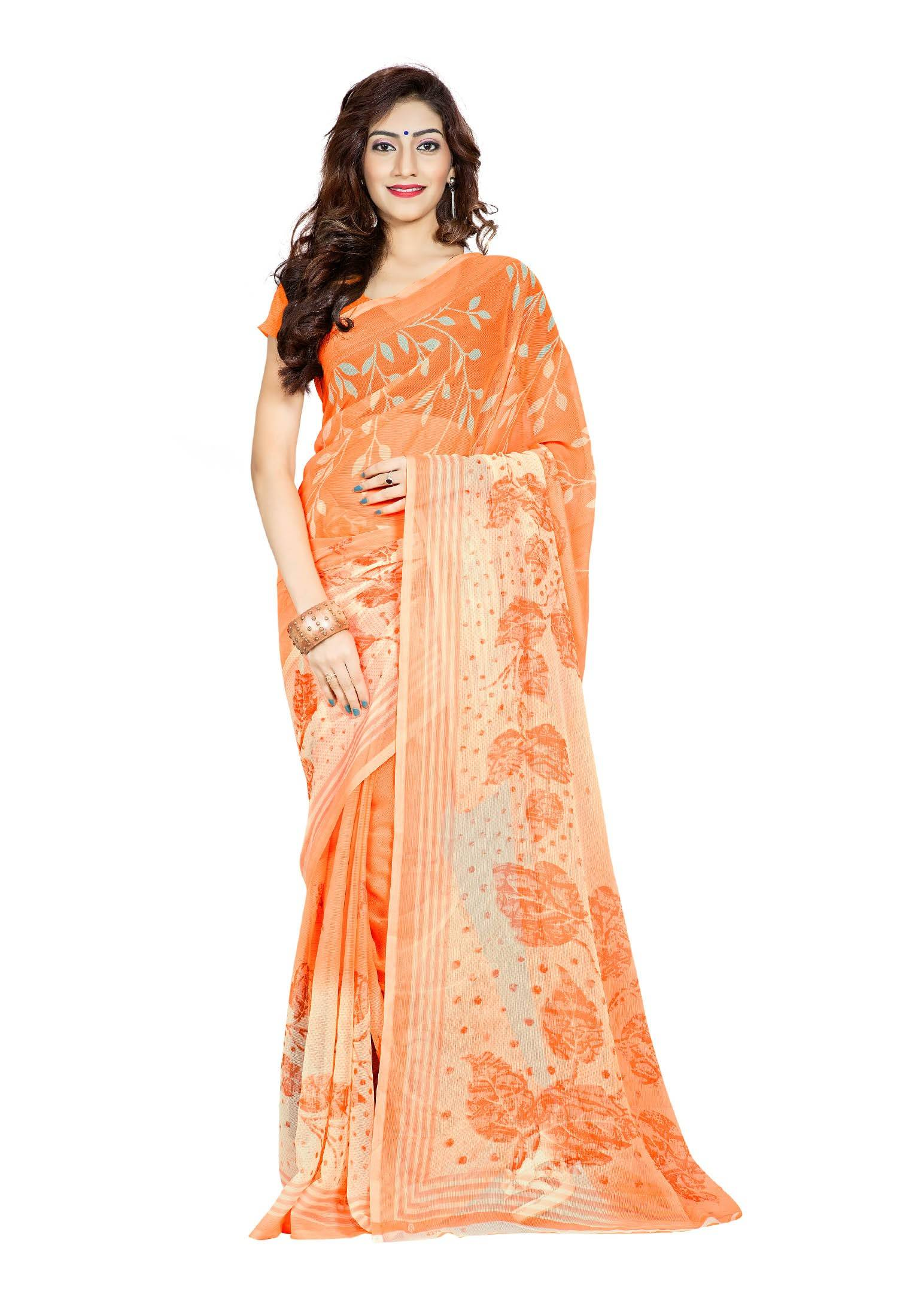 Ambaji Casual Wear Orange Colored Printed Chiffon Saree/Sari
