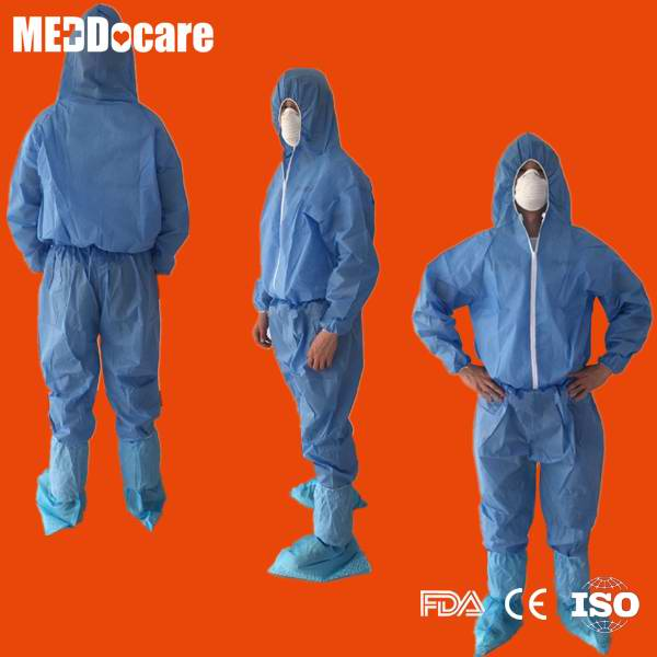 disposable surgical medical blue sms coverall for hospital