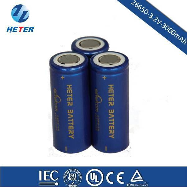 High Energy LiFePO4 26650 3.2V 3000mAh Lithium Rechargeable Battery