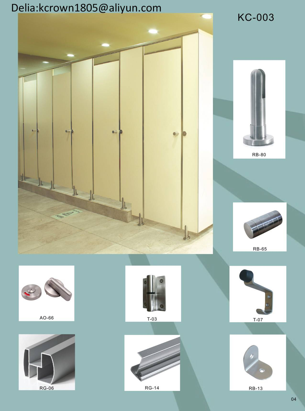 toilet cubicle partition hardware stainless steel 304