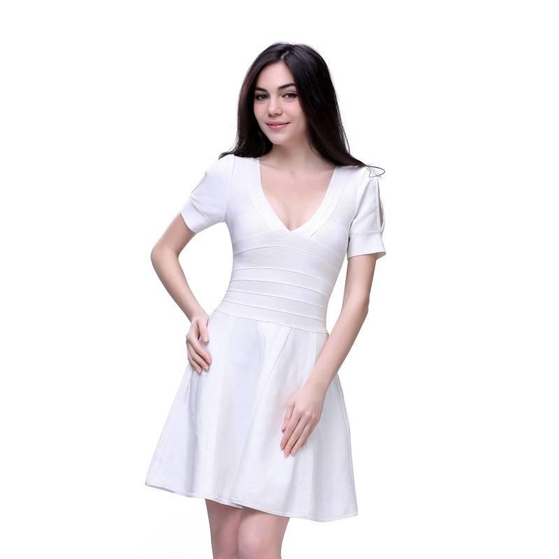 Fahion white v-nech A-line dress bandage fabric short sleeve