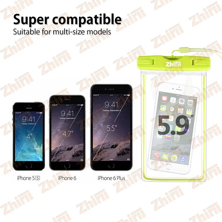 zhirii 2016 wholesales PVC Waterproof  Mobile Phone Pouch for up to 5.7 inch Smartphone