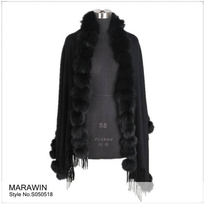 S050518 High quality ladies cashmere shawl scarf fringe on both ends and fox fur trim
