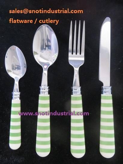24pcs flatware set with printing-pattern handle