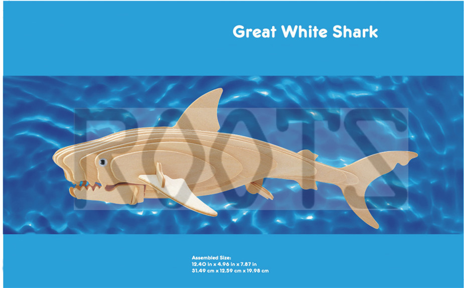 Great White Shark-3D wooden puzzles, wooden construction kit,3d wooden models, 3d puzzle