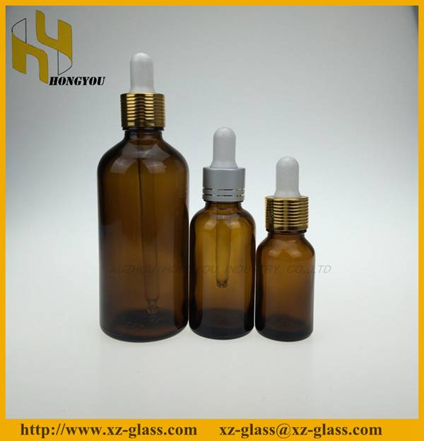 Amber essential oil glass bottle with dropper wholesale