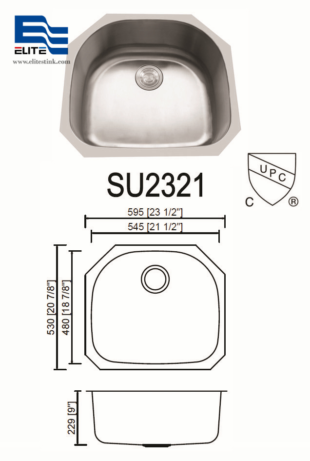 d shaped Stainless Steel Kitchen Sinks