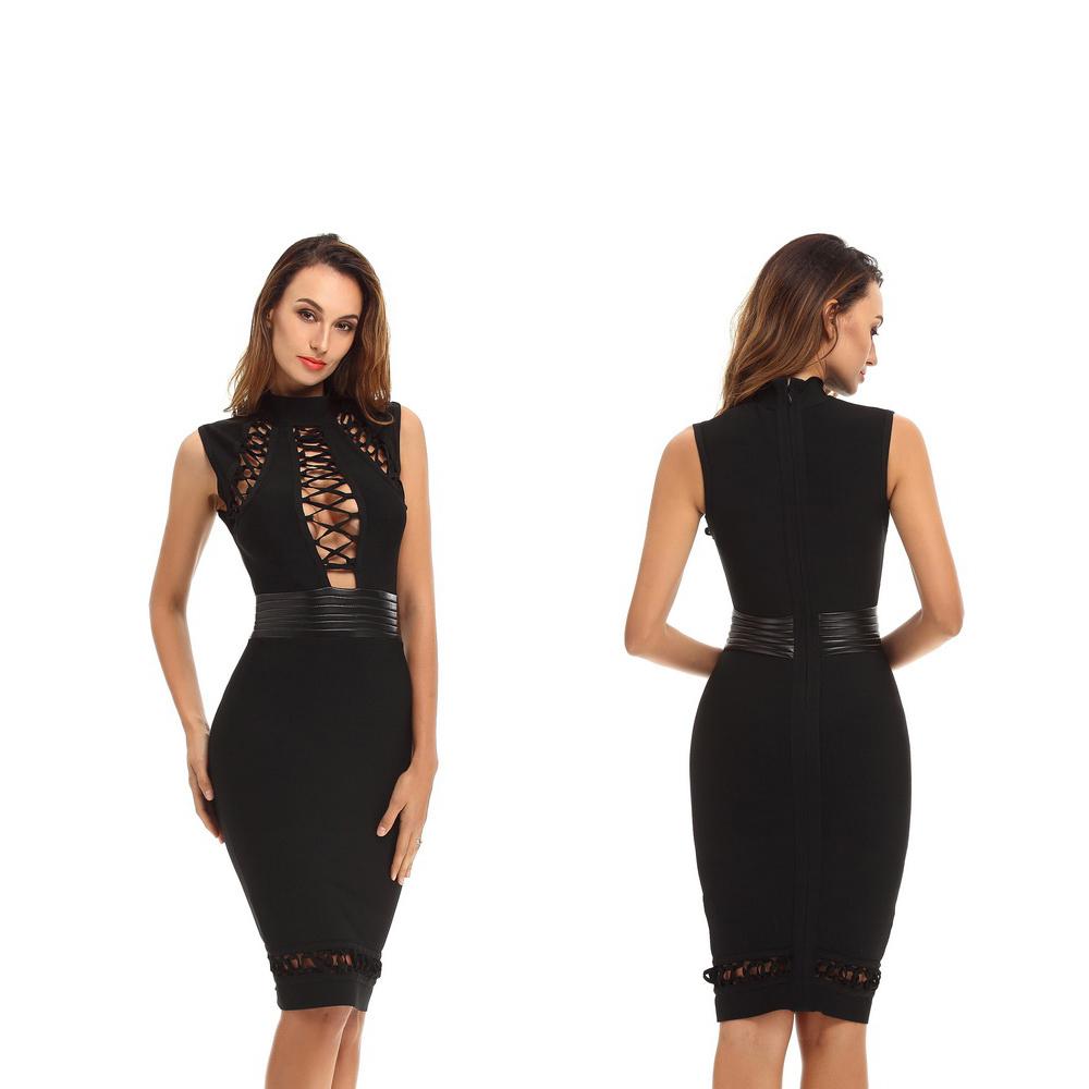 Black Waist Fashion New Bandage Dress