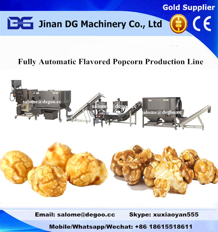 Commercial mushroom/butterfly caramel popcorn maker chocolate popcorn production line