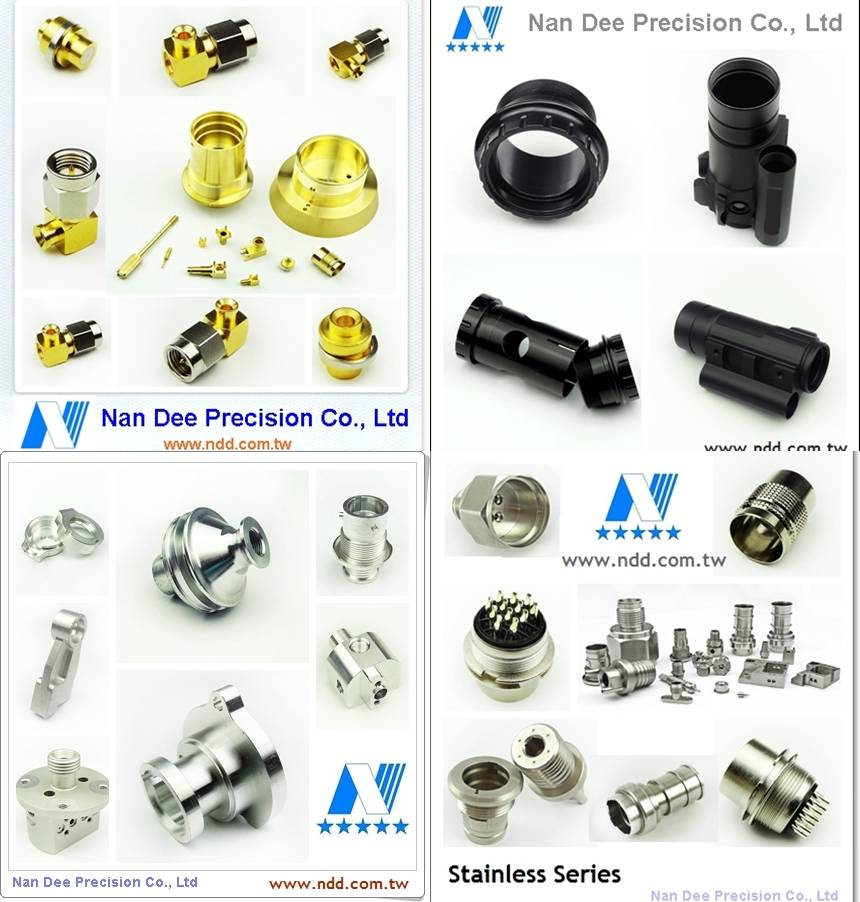 OEM machining parts, majority in stainless steel, brass, aluminum. Nan Dee Precision Taiwan