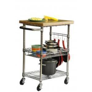 Chrome Metal Kitchen Trolley with Bamboo Top