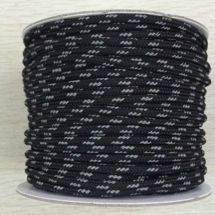 Black with white Double braided polyester round elastic rope