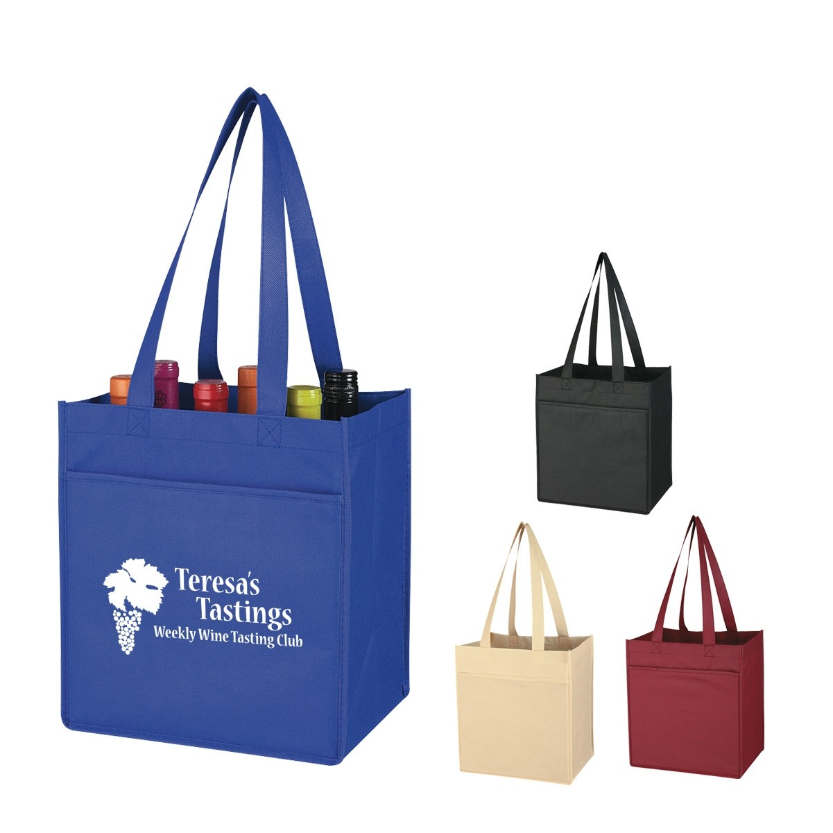 Promotional Non-Woven 6 Bottle Wine Tote Bag,