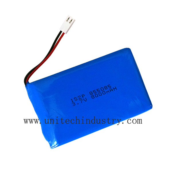 hi-power custom lipo battery pack 855085 3.7V 8000mAh 2S1P