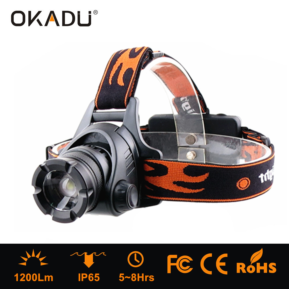 OKADU HT13 18650 Li-ion Battery Cree XM-L U2 Led Head Lamp 1200Lumens Led Zoom Head Light