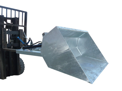 Hydraulic dirt bucket forklift attachment