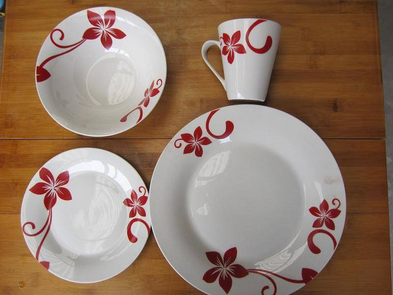 16pcs dinnerware with beauty decal