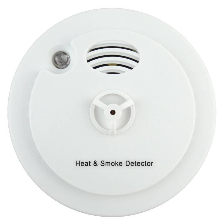 Heat and Smoke Detector With Low Battery Alarm High Sensitivity Hot Temperature Photoelectric Sensor