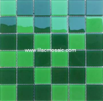 Green Blend Crystal Glass Mosaic For Sauna Pool Tile