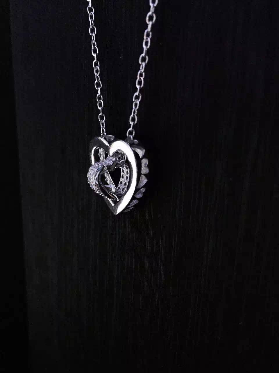 FOR FREE SHIPPING OEM FACTORY NEFFLY JEWELERY double peach heart necklace, 925 silver with platinum