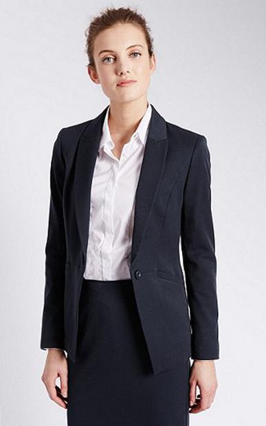 Women Welt Pocket Blazer Workwear Uniform Skirt Suits