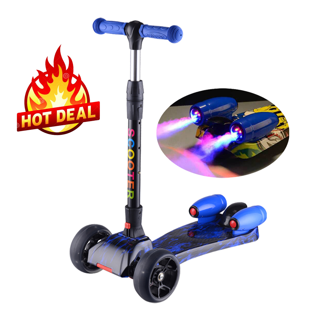 folding kids maxi scooter with light PU wheels and jet spray