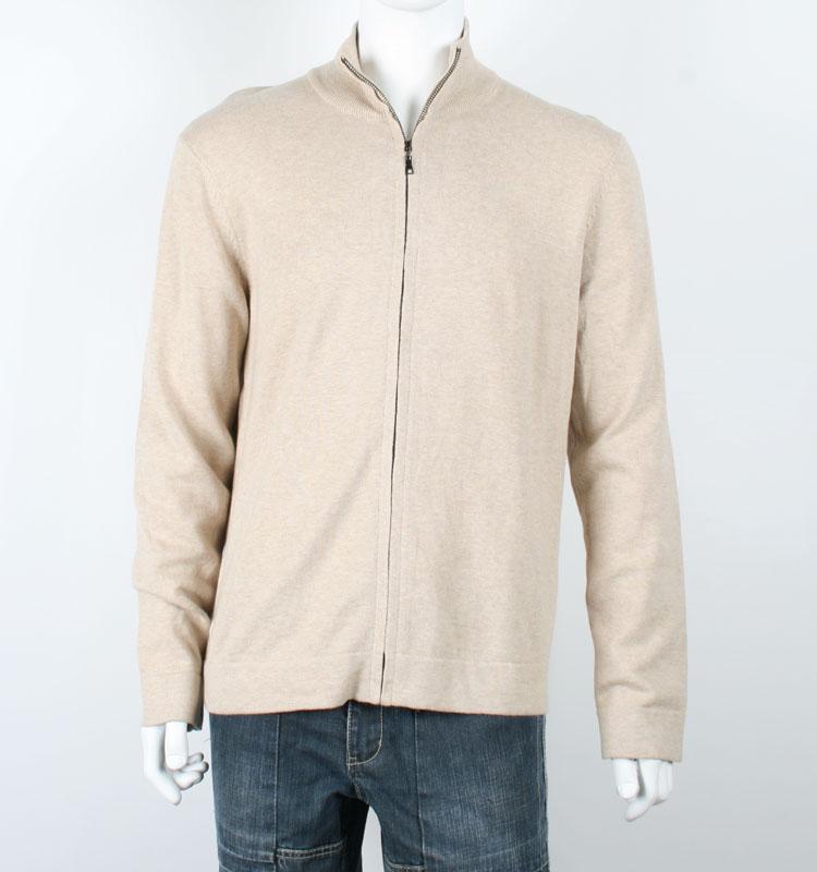 Mens Full Zip Plain Knit Beige Cardigan