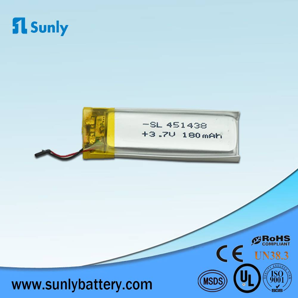 2015 hot sales rechargeable battery 3.7V 180mAh lithium ion battery pack