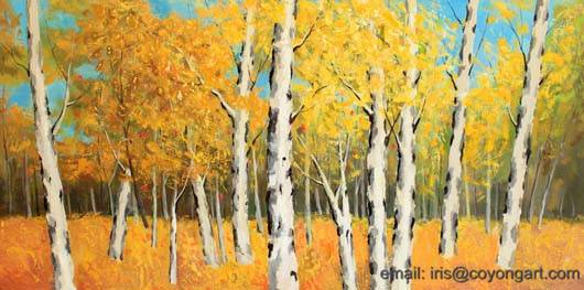 Hand painted landscape painting, burches forests modern painting,trees oil painting on canvas
