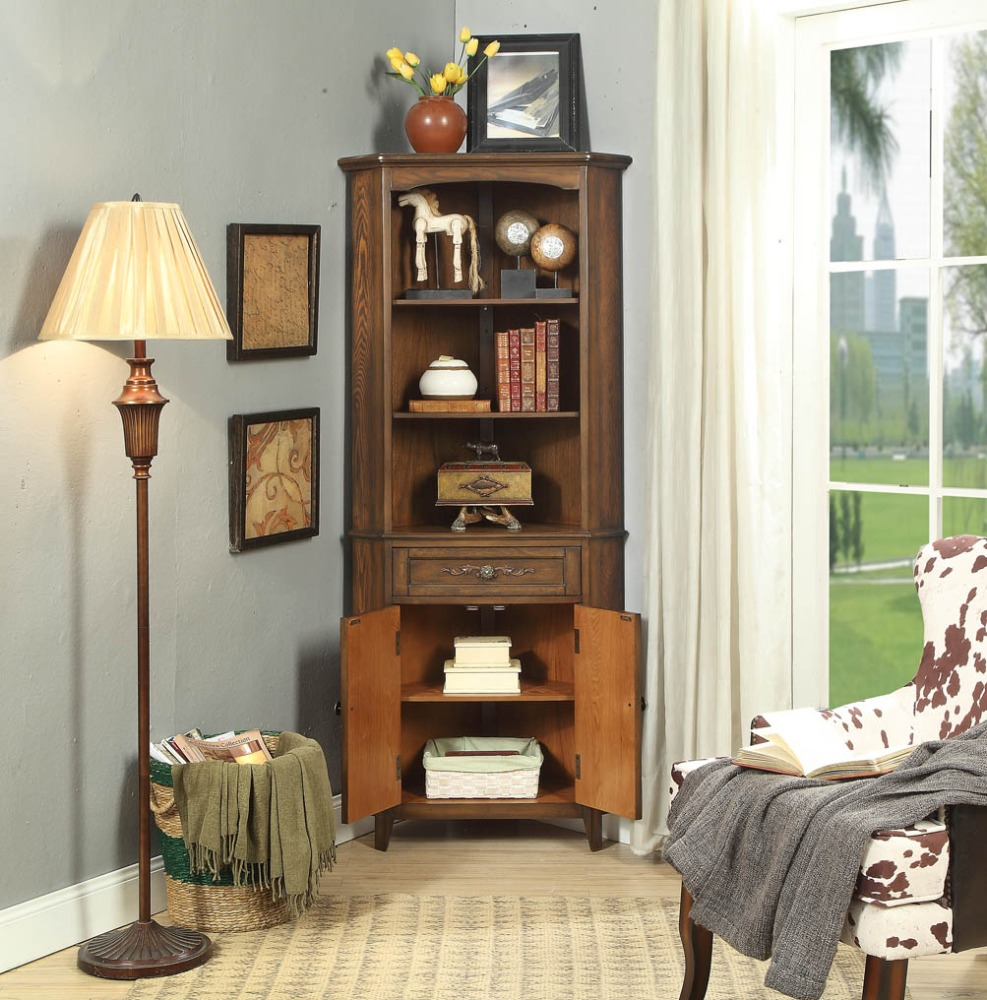 new American country antique display corner cabinet