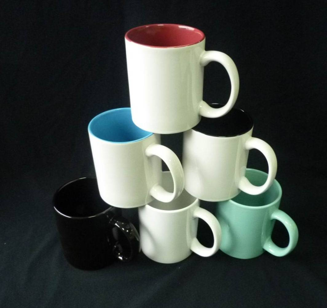 coated white mugs