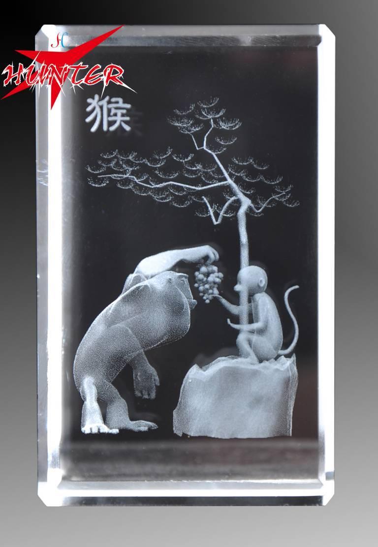 Laser Internal Carving Crystal,K9 Monkey Crystal Crystal Animal Gift