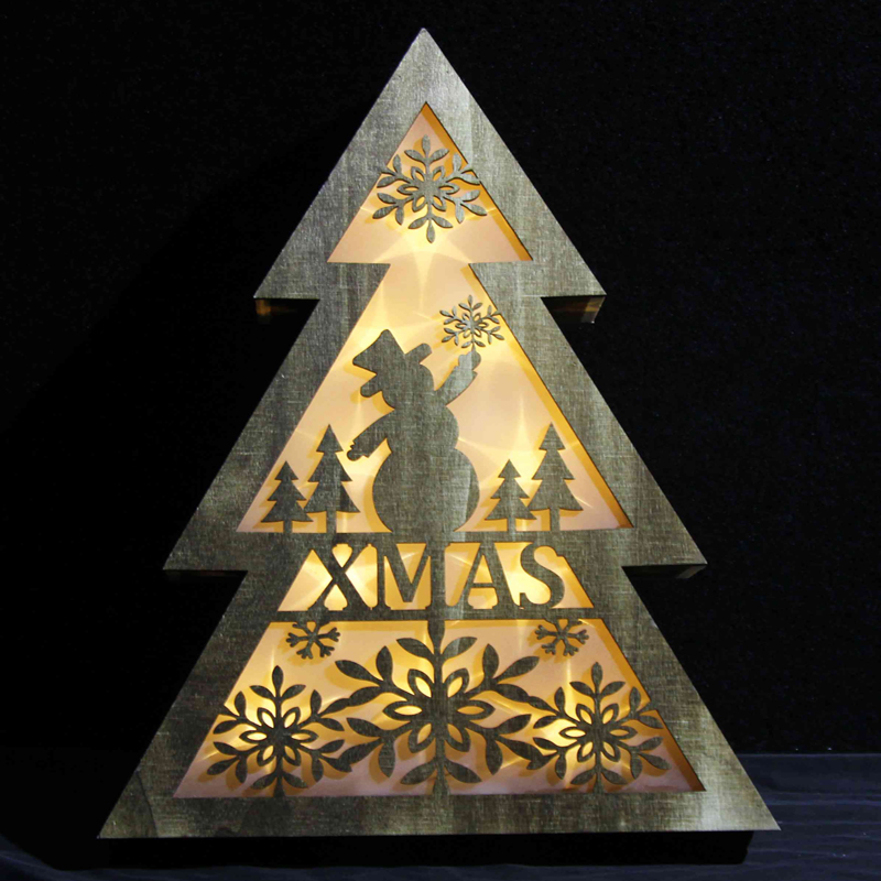 Home Decor Wooden Christmas Tree holiday light child gift led