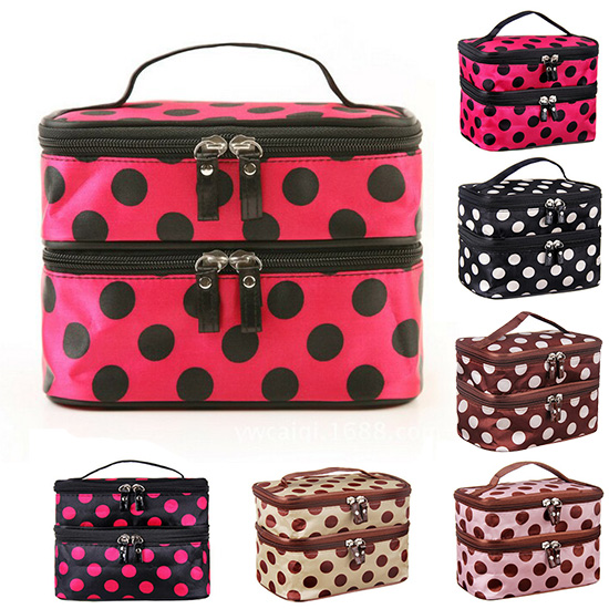 Double Layers Dots Printed Women Cosmetic Bag