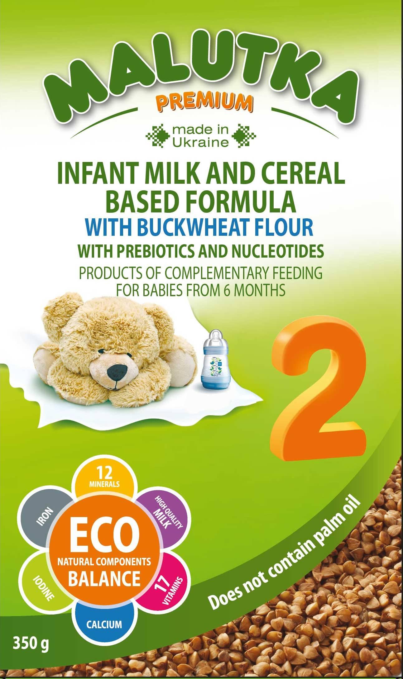 "Milk formula on milk and cereal basis ""Malutka Premium"""