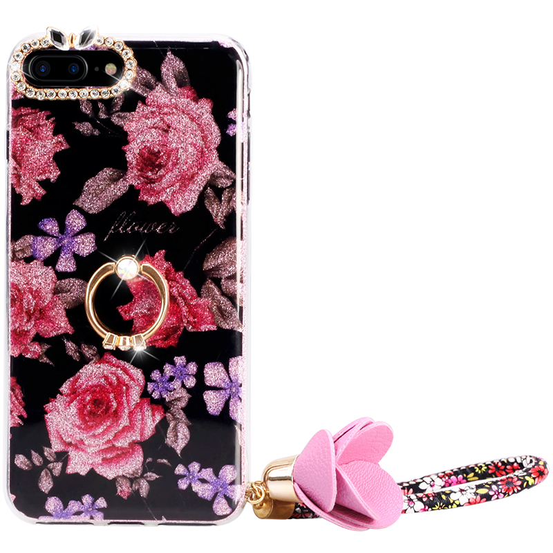 Flowers Painted Wristlet Glitter Silicone Soft Back Case for iphone6splus 7 8 plus