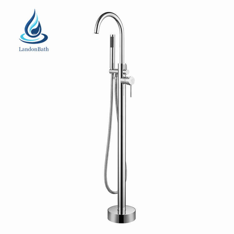 European Style Brass Freestanding Bathroom Bathtub Faucet With Diverter